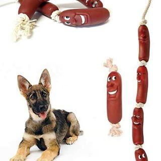 طناب اسباب بازی سگ با سوسیس پلاستیکی با سه عدد سوسیس