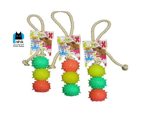 اسباب بازی بند دار آموزشی با سه توپ از برند Dog Toy