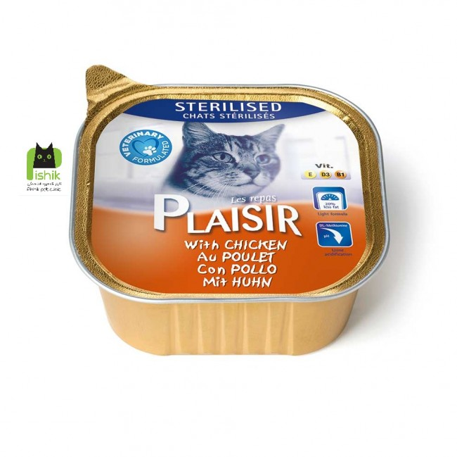 خوراک کاسه ای مخصوص گربه بالغ پلازیر حاوی مرغ 100گرمی