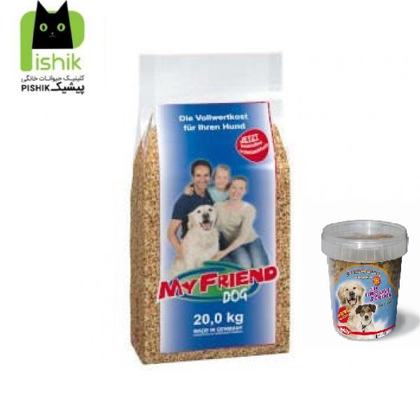پک غذای خشک 20 کیلویی My Friend با کیفیت پرمیوم محصول شرکت بوش آلمان مخصوص سگ های بالغ کلیه نژادها به همراه تشویقی نیم کیلویی سگ نوبی