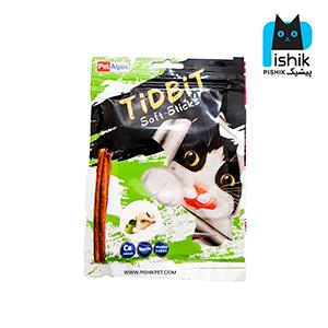 غذای تشویقی گربه تیدبیت مدل Chicken & Apple وزن ۷۰ گرم طعم مرغ و سیب TIDBIT