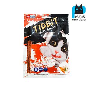 غذای تشویقی گربه تیدبیت مدل Chicken & Carrot وزن ۷۰ گرم طعم مرغ و هویج TIDBIT