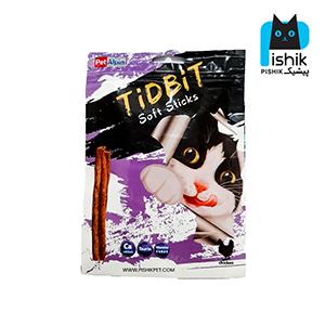 غذای تشویقی گربه تیدبیت مدل Chicken وزن ۷۰ گرم طعم مرغ TIDBIT