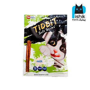 غذای تشویقی گربه تیدبیت مدل Milk وزن ۷۰ گرم طعم شیر TIDBIT