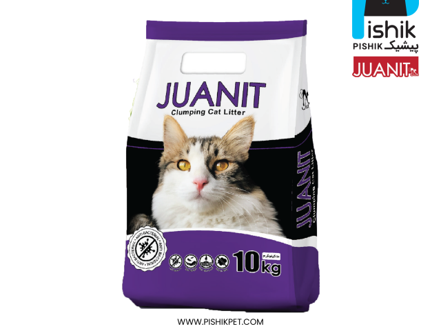 خاک گربه ژوانیت معطر 10 کیلوئی سوپر پریمیوم با عطر لوندر