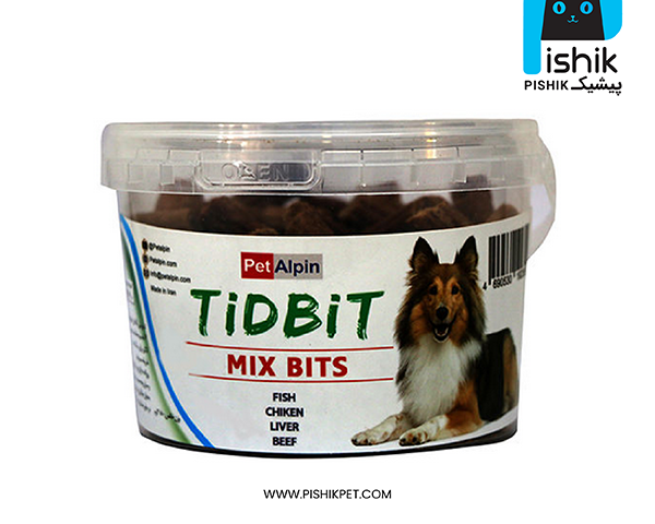 مکمل غذایی و تشویقی سگ تیدبیت مدل MIX BITS وزن 180 گرم TIDBIT