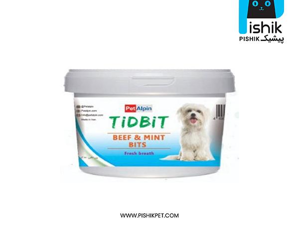 مکمل غذایی و تشویقی سگ تیدبیت مدل BEEF & MINT BITS وزن 180 گرم TIDBIT