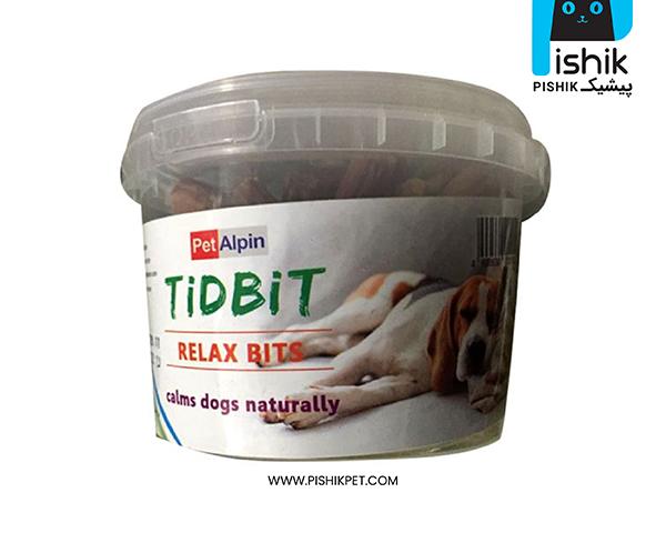 مکمل غذایی و تشویقی سگ تیدبیت مدل RELAX BITS وزن 180 گرم TIDBIT