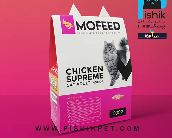 غذای خشک گربه های آزاد 500 گرمی MOFEED مفید CHICKEN SUPREME CAT ADULT INDOOR