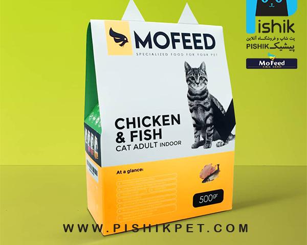 غذای خشک گربه های دارای دستگاه گوارش حساس 500 گرمی MOFEED مفید CHICKEN & FISH CAT ADULT INDOOR