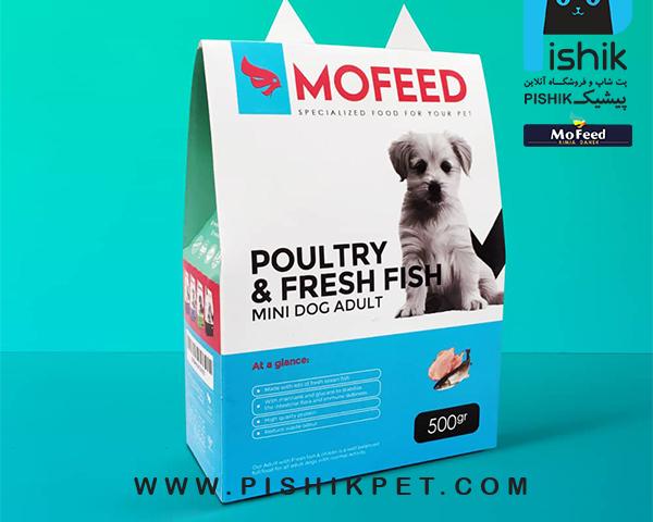 غذای سگهای نژاد کوچک بزرگسال با ماهی و مرغ 500 گرمی MOFEED مفید POULTRY & FRESH FISH MINI DOG ADULT