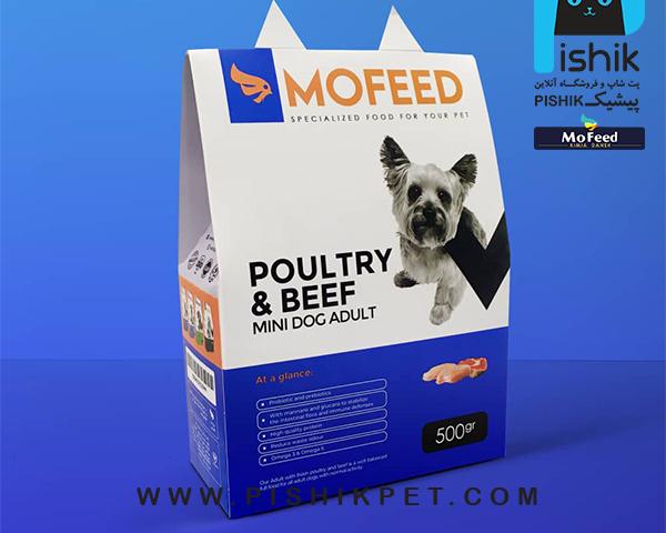 غذای سگهای نژاد کوچک بزرگسال با گوشت گاو و مرغ 500 گرمی MOFEED مفید POULTRY & BEEF MINI DOG ADULT