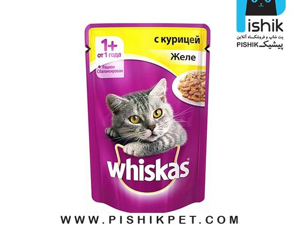 غذای پوچ گربه ویسکاس با گوشت مرغ وزن 85 گرم whiskas