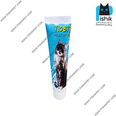 خمیر مالت گربه تیدبیت مدل FISH وزن 110 گرم با طعم ماهی TIDBIT