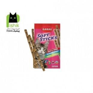 تشویقی مدادی نرم گربه حاوی ماهی سالمون و ماهی قزل آلا (۳۵ گرم،۳ عددی) سانال