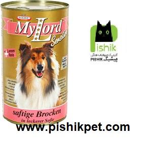 کنسرو سوپر پریمیوم سگ بالغ حاوی گوشت بره و برنج در سس 1240 گرمی مای لرد دکتر آلدرز
