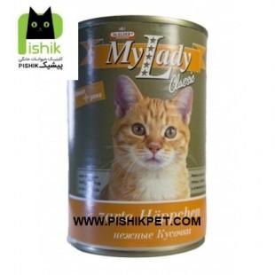کنسرو سوپر پریمیوم گربه بالغ حاوی گوشت بوقلمون و اردک در سس 415 گرمی مای لیدی دکتر آلدرز