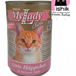 کنسرو سوپر پریمیوم گربه بالغ حاوی گوشت خرگوش و دل در سس 415 گرمی مای لیدی دکتر آلدرز