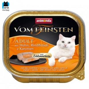 غذای کاسه ای ووم فیستن بدون غلات حاوی گوشت مرغ و سس هویج 100gr
