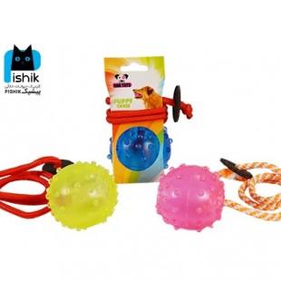توپ آموزشی طناب دار سایز M برند Dog Toy