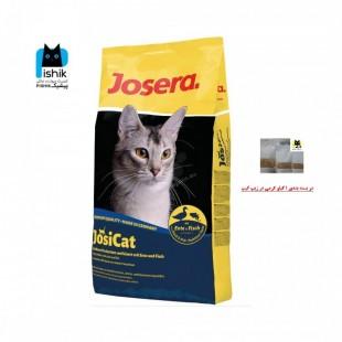 غذای خشک گربه بالغ، با طعم اردک و ماهی، در بسته بندی یک کیلوگرمی بصورت فله، مدل جوسی کت، برند جوسرا