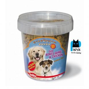 تشویقی سطلی سگ نوبی میکس گوشت شکار و مرغ وزن 500 گرم