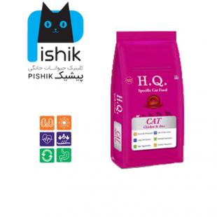 غذای گربه بالغ اچ کیو (HQ)  یک کیلو گرمی به صورت فله در بسته بندی زیپ کیف