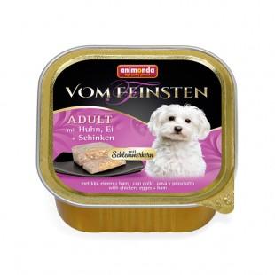 خوراک کاسهای ووم فیستن مغزدار حاوی گوشت مرغ، تخم مرغ و گراز مخصوص سگ بالغ ۱۵۰gr