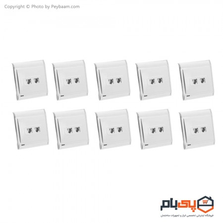 پریز تلفن دو سوکت ثابت الکتریک مدل پرشین بسته 10 عددی