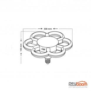 لامپ ال ای دی طرح گل 70 وات پارس شعاع توس پایه E27