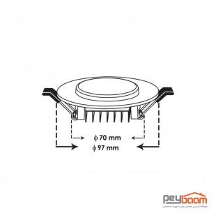 پنل ال ای دی 7 وات پارس شعاع توس مدل پولاریس