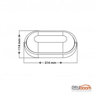 چراغ ال ای دی 12 وات روکار پارس شعاع توس مدل آبتین (ضد آب)