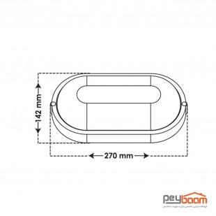 چراغ ال ای دی 20 وات روکار پارس شعاع توس مدل آبتین (ضد آب)