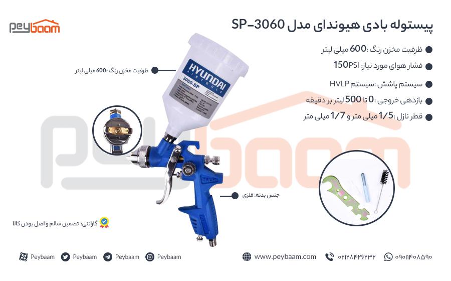 اینفوگرافی پیستوله بادی هیوندای مدل SP-3060
