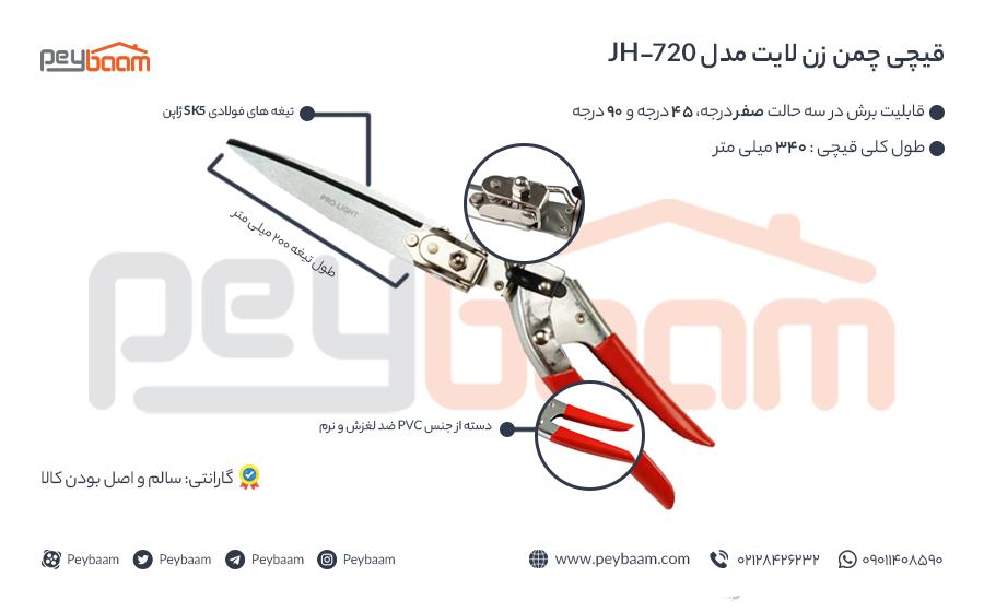 اینفوگرافی قیچی چمن زن لایت مدل jh-720