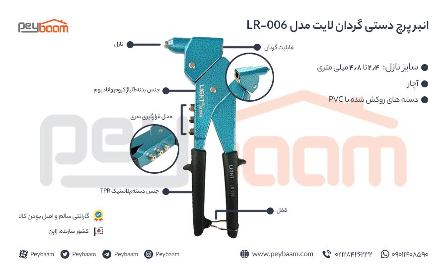 اینفوگرافی انبر پرچ دستی گردان لایت مدل LR-006