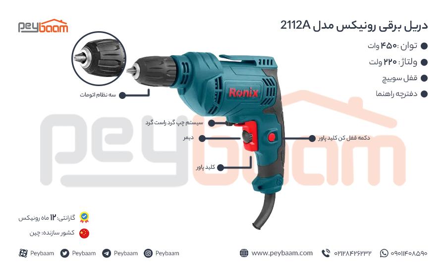 اینفوگرافی دریل برقی رونیکس مدل 2112A