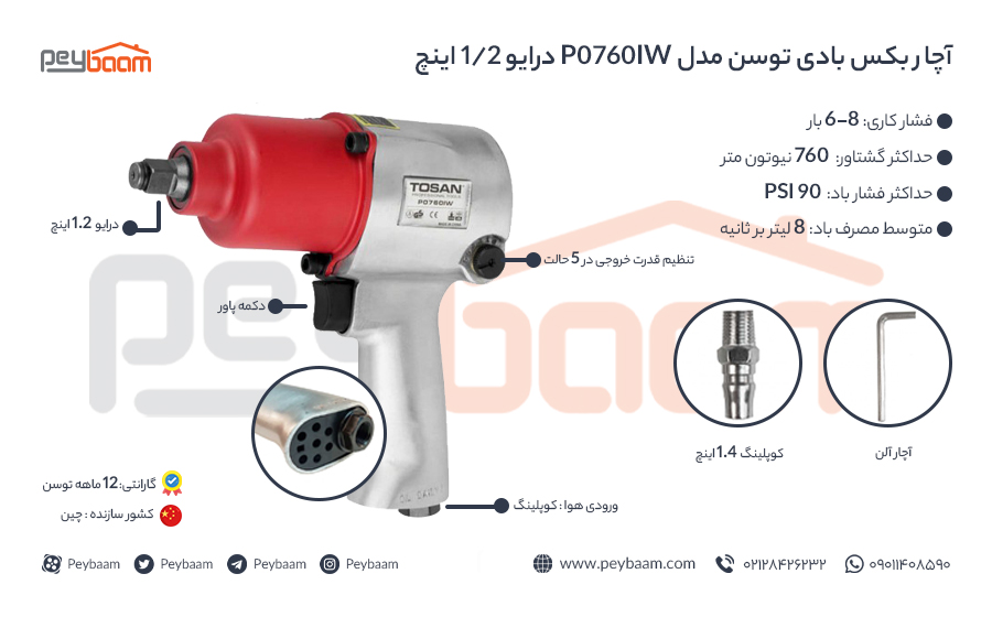 اینفوگرافی آچار بکس بادی توسن مدل P0760IW