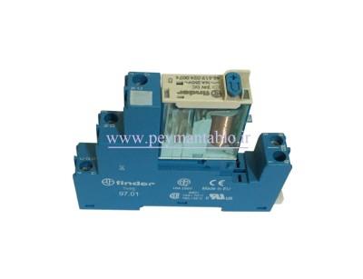 رله مینیاتوری 24 ولت DC تک کنتاکت 16 آمپر Finder(46.61) LED