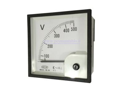 ولت متر تکی 500-0 ولت آنالوگ عقربه ای (سایز 96 * 96) BEW
