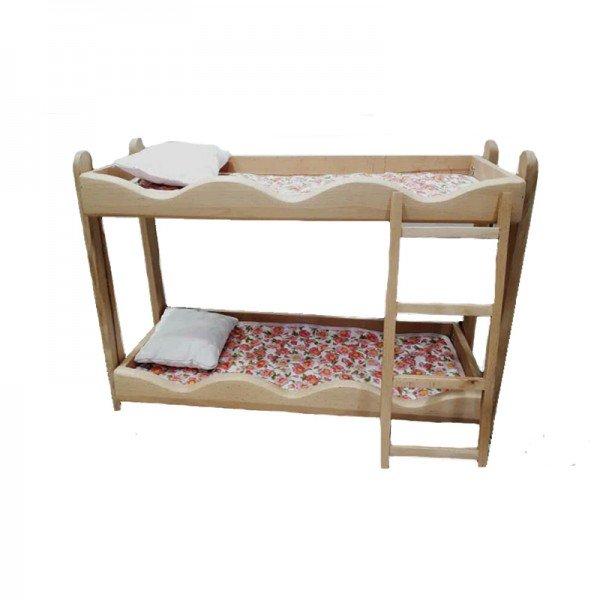 تخت عروسک دو طبقه چوبی مدل 0530