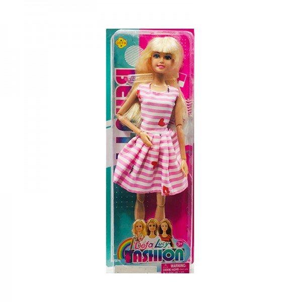 عروسک دفا با لباس صورتی راه راه مدل 8406