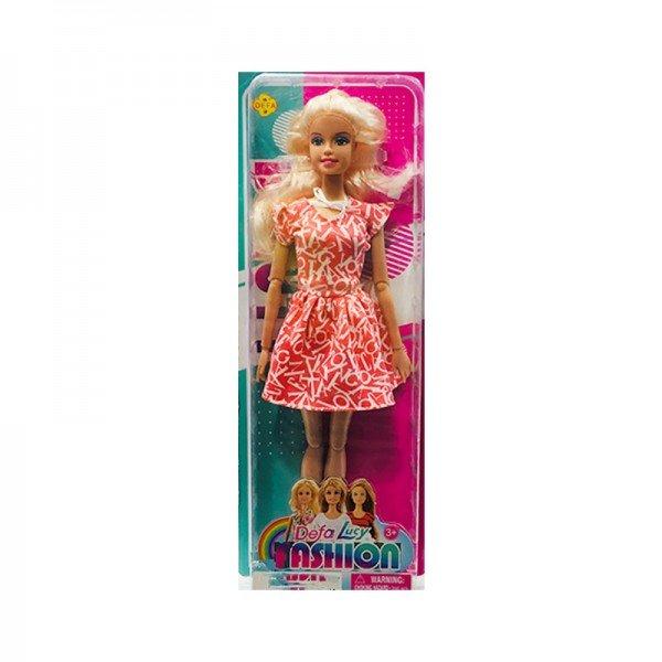 عروسک باربی دفا با لباس قرمز طرح حروف مدل 8406