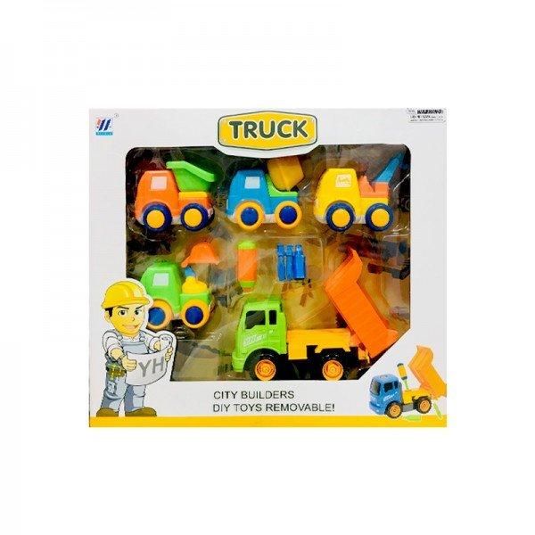 ست ماشین راهسازی 5 عددی با کامیون سبز مدل 55926