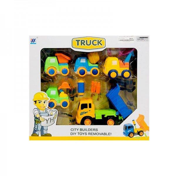 ست ماشین راهسازی 5 عددی با کامیون زرد مدل 55926