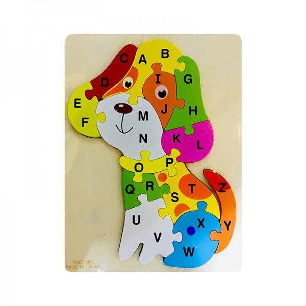 پازل چوبی کودک طرح سگ با حروف انگلیسی