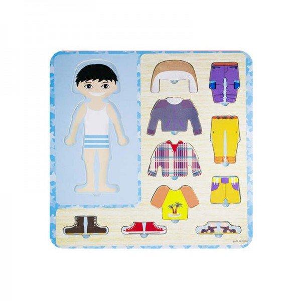 پازل چوبی آموزشی لباس پسرانه مدل 6007
