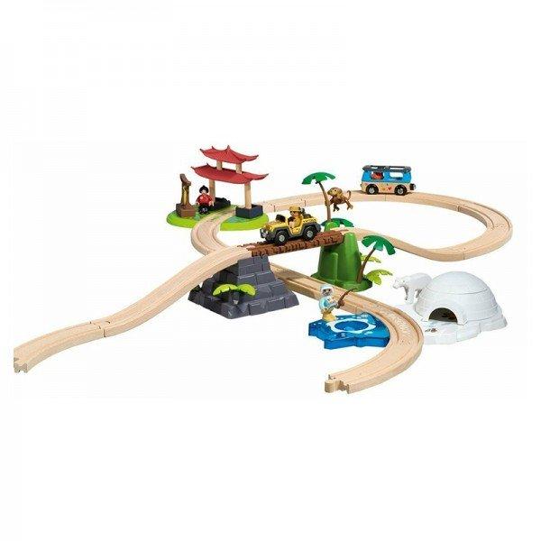 ست ریل و قطار چوبی با لوازم
