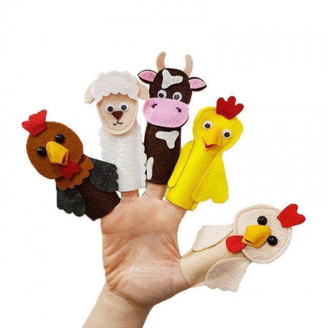 عروسک انگشتی نمدی حیوانات مزرعه مدل 3421