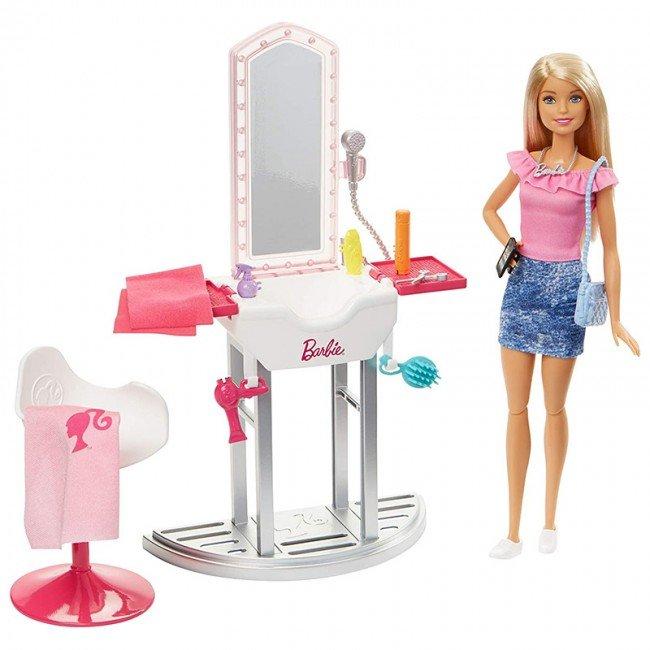 عروسک دخترانه باربی با میز آرایش مدل FJB36